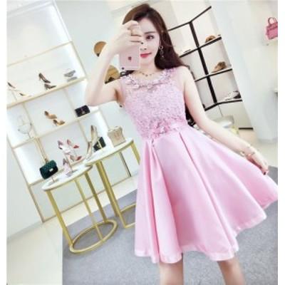 花柄レースミニドレス(ピンク)春夏  上品 大人 かわいい パーティ 花柄
