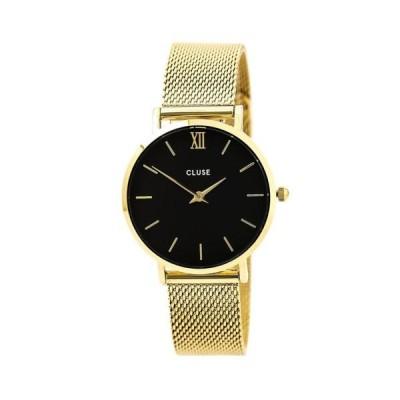 腕時計 クルース Cluse CL30012 Women's Black Dial Yellow Steel Bracelet Watch
