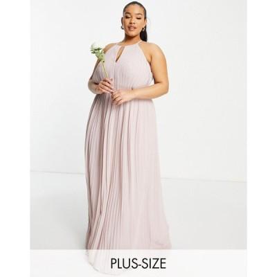 ティーエフエヌシー ドレス 大きいサイズ レディース TFNC Plus bridesmaid pleated wrap detail maxi dress in mink エイソス ASOS