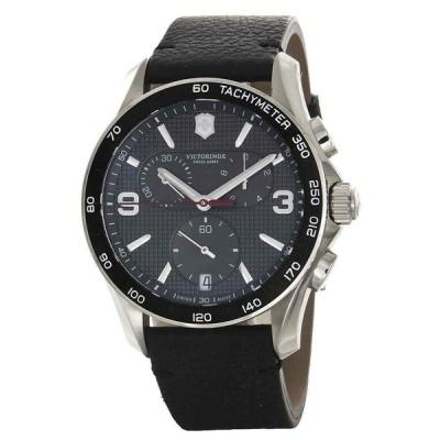 ビクトリノックス 腕時計 Victorinox Black Dial Stainless Steel Case Black Leather Chrono Watch 241657.1