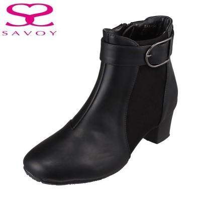 サボイ SAVOY SA94319 レディース   ブーツ ショートブーツ   ラウンドトゥ   メタルバックル   人気 ブランド   ブラック