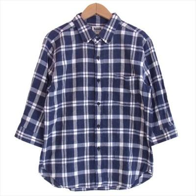 フェローズ PHERROW'S 七分袖 チェック シャツ メンズ 日本製 コットン 長袖シャツ 紺×白 S【中古】