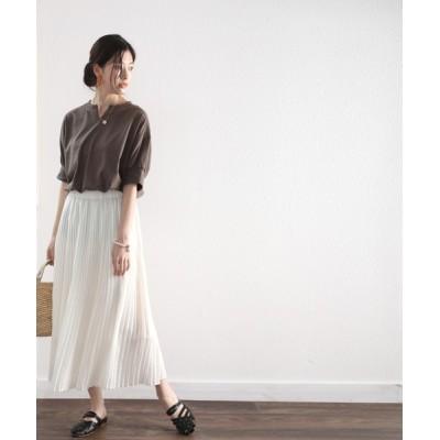 Classical Elf / 無地ロング丈キーネックビッグシルエットTシャツ(半袖) WOMEN トップス > Tシャツ/カットソー