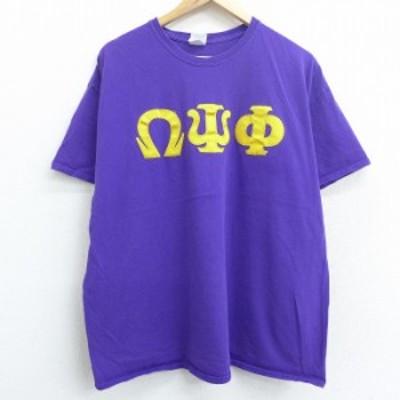 古着 半袖 ビンテージ Tシャツ 00年代 00s ギリシャ文字 大きいサイズ コットン クルーネック 紫 パープル XLサイズ 中古 メンズ Tシャツ