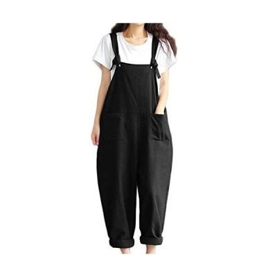 (カネツー) Kanetsu ファッション サロペット つなぎ オーバーオール レディース オールインワン (ブラック XXXL)