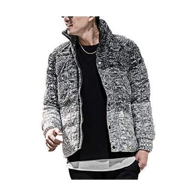 ルービック(RUBIK) ニット中綿ジャケット メンズ アウター ブルゾン ニット 防寒 L ブラックグラデーション