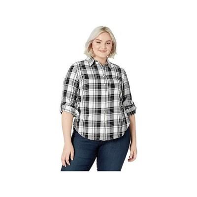 LAUREN Ralph Lauren Plus Size Classic Cotton Shirt レディース シャツ トップス Polo Black/White