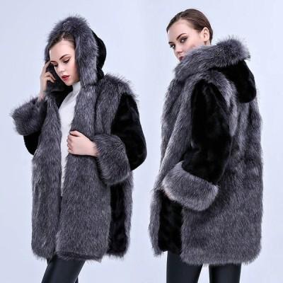 秋冬 レディース フェイクファーコート 大きいサイズ 韓国ファション フード付き ファーコート 暖かい 毛皮コート 防寒 フワフワアウター 目玉 お呼ばれ