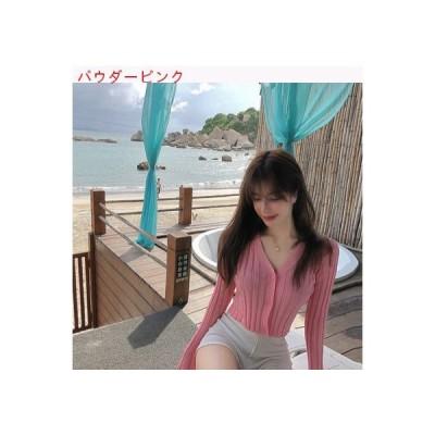 【送料無料】夏 韓国風 シングル列ボタン 襟 長袖セーター 薄いスタイル 短いスタイ   364331_A63306-2854124