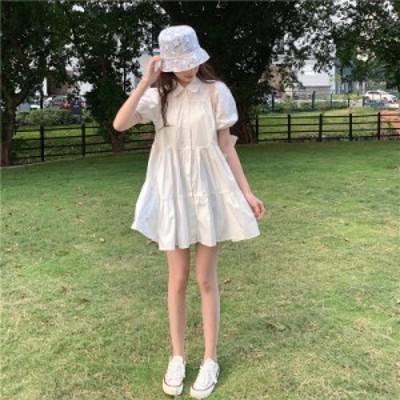 ミニワンピース ガーリー パフスリーブ ティアード Aライン フリル きれいめ カジュアル 韓国ファッション 大人可愛い