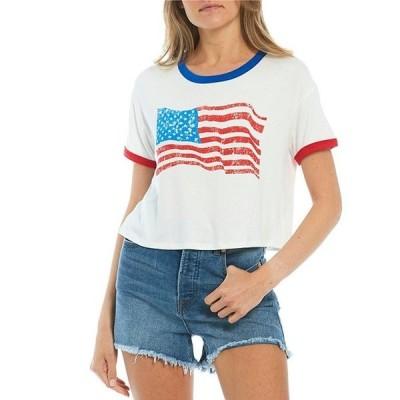 モアモア レディース Tシャツ トップス Americana Flag Short Sleeve Ringer Graphic Tee