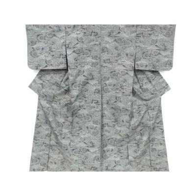 宗sou 未使用品 草花に家屋模様織出手織り紬単衣着物【リサイクル】【着】