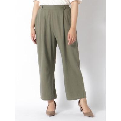 【大きいサイズ】【L-3L】フレンチリネン美脚ワイドパンツ 大きいサイズ パンツ レディース