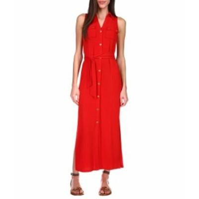 マイケルコース レディース ワンピース トップス Sleeveless Maxi Shirtdress Crimson