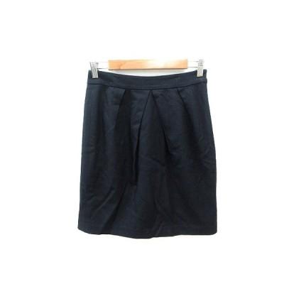 【中古】ユナイテッドアローズ UNITED ARROWS タイトスカート ミニ ウール 36 紺 ネイビー /ST レディース 【ベクトル 古着】