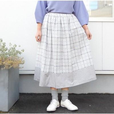 【50%OFF】peu pres プープレ  デイジーチェックプリント釦あきスカート 10-01-SK-002-19-1