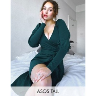 エイソス レディース ワンピース トップス ASOS DESIGN Tall puff sleeve wrap midi dress in forest green Forest green