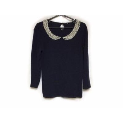 アナイ ANAYI 長袖セーター サイズ38 M レディース ネイビー×白 パール【還元祭対象】【中古】20200411