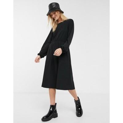 モンキ レディース ワンピース トップス Monki oversized round neck t-shirt dress in black