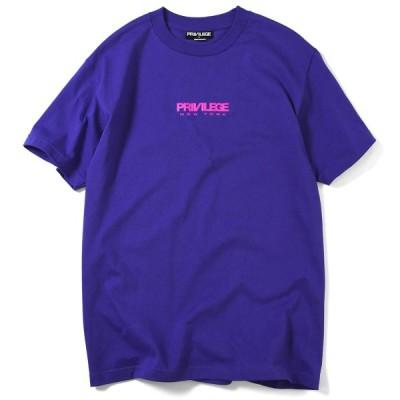 プリビレッジ PRIVILEGE 半袖 Tシャツ メンズ ストリート SMALL NEW YORK CORE LOGO TEE PV19AW04 PURPLE パープル