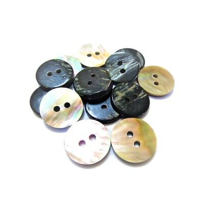 ボタン 手芸 素材 茶蝶貝 茶色系 15mm 2つ穴 縁なし 貝ボタン 8個入り