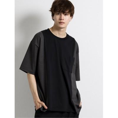 【タカキュー】 切替クルーネック半袖BIGTシャツ メンズ グレー M TAKA-Q