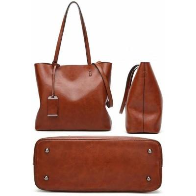 ARARAGI シンプル トートバッグ ハンドバッグ 2WAY ファスナー付 PU レザー バッグ カバン 鞄 (グレー)