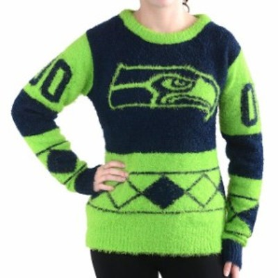 Klew クルー 服 スウェット Klew Seattle Seahawks Womens Navy Blue Eyelash Crew Ugly Sweater