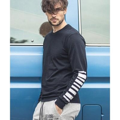 tシャツ Tシャツ mlt2984-Sleeve Logo Print Long Sleeve Cut sew