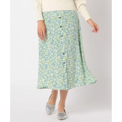 スカート フラワープリント前釦ミディスカート