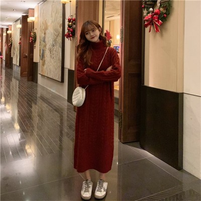👌格好いい  韓国 レトロ ロングセクション ファッション 百掛け カジュアル ゆったりする ハイネック セータードレス 厚手 防寒 ロングスカート 怠惰な風 ニットワンピース