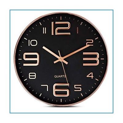 新品Bernhard Products 壁掛け時計 ブラック 12インチ ローズゴールド 静音 カチカチ音なし 高品質クォーツ
