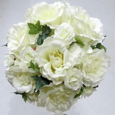 アートフラワー[造花]ブーケ/白バラ・ミニバララウンドブーケ