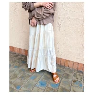 OZOC(オゾック)[洗える]サテンティアードスカート