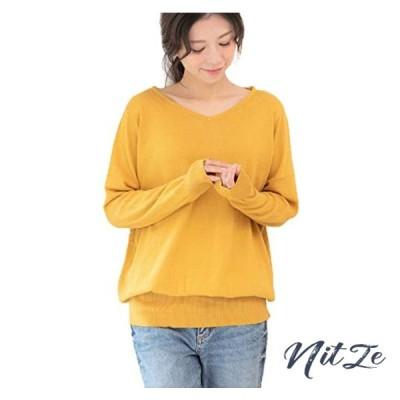 [サコイユ] 9色展開 ゆったり 綿100% ニット M5L ワイド リブ プルオーバー セーター Vネック レディース
