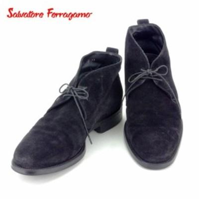 【ラスト1点】 サルヴァトーレ フェラガモ ブーツ シューズ 靴 ♯7 2E ショート チャッカブーツ ブラック スエードSalvatore Ferragamo