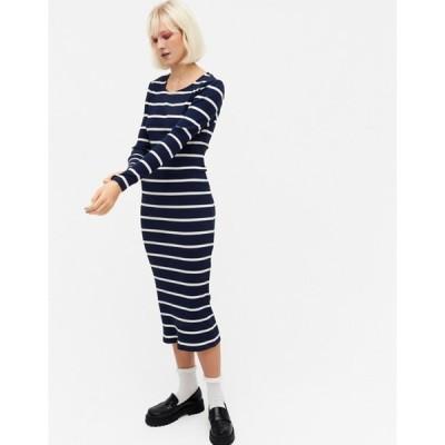 モンキ レディース ワンピース トップス Monki Li organic cotton stripe ribbed maxi dress in navy