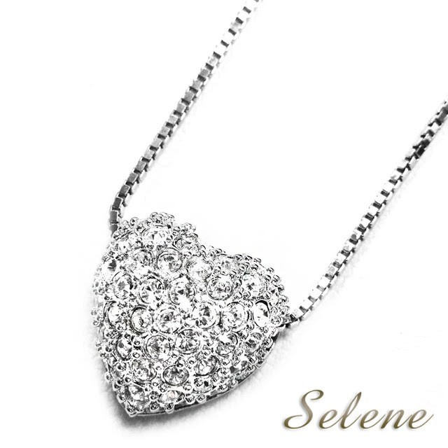 selene 珠寶心心相印美鑽墜鍊(贈925銀鍊)
