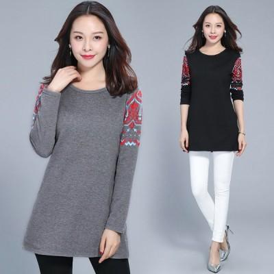 719186 全2色 長袖Tシャツ ゆったり 大きいサイズあり プリント 韓国風 カジュアル