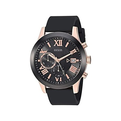 GUESS Comfortable Black + Rose Gold-Tone Stain Resistant Silicone Chronograph Watch with Date. Color:Black/Rose Gold-Tone (Model: U1055G3) 並行輸