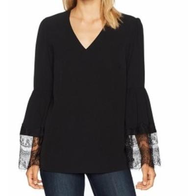 bell ベル ファッション トップス Nine West NEW Black Womens Medium M V-Neck Lace Bell Sleeve Blouse