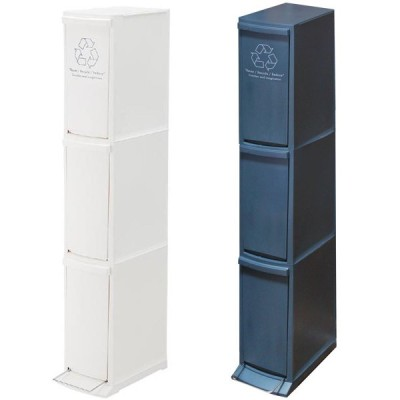 ダストボックス 3段 30L 933 (ゴミ箱 キッチン 台所 くず入れ フタ付き ダスト ごみ箱 ダストBOX 分別 ネイビー ホワイト LFS)