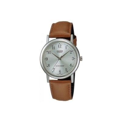 腕時計 カシオ Casio メンズ ブラウン レザー ストラップ 腕時計 シルバー ダイヤル MTP1095E-7B