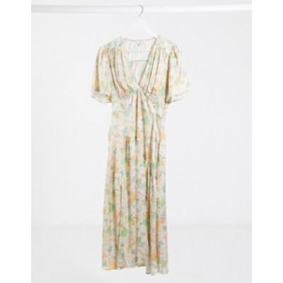 トップショップ レディース ワンピース トップス Topshop v-neck midi dress in cream floral Multi