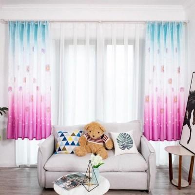 カーテン 寝室のリビングルーム ショートウィンドウドレープ アジサイ印刷シェーディング 装飾カーテン