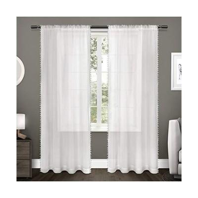 海外輸入品-並行輸入品を中心に販売しています!Exclusive Home Curtains キッズポンポン テクスチャード シアーボーダー ポンポン