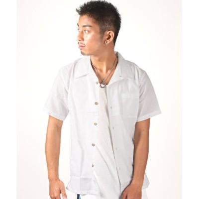 【ラグスタイル】 綿麻オープンカラー半袖シャツ/オープンカラー シャツ メンズ 半袖 綿 麻 メンズ ホワイト M LUXSTYLE