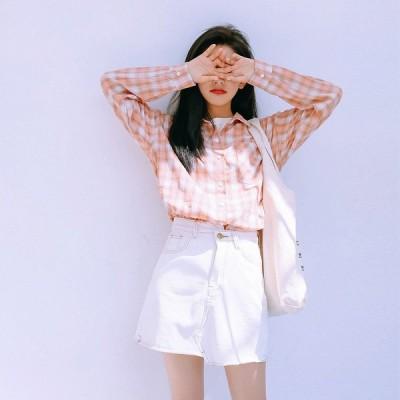 全2色 シャツ ブラウス 体型カバー 着痩せ チェック柄 韓国風