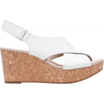 クラークス Clarks レディース サンダル・ミュール ウェッジソール シューズ・靴 Annadel Parker Wedge Sandal White Leather
