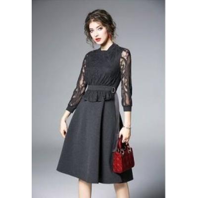 ドレス ワンピース レース 七分袖 袖あり 20代 黒 ネイビー 透け感 大人可愛い きれいめ 春夏 結婚式 お呼ばれ a313